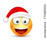 christmas hat and smiley | Shutterstock .eps vector #775485052