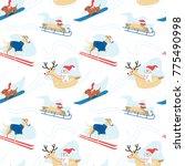 seamless winter fun pattern... | Shutterstock .eps vector #775490998