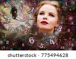 woman and numerology | Shutterstock . vector #775494628