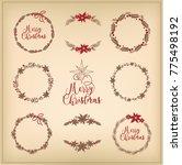vector set of christmas wreath   Shutterstock .eps vector #775498192
