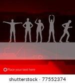 Animated women gymnastic exercises background illustration - stock vector