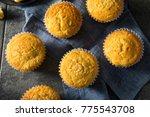 Stock photo golden sweet homemade cornbread muffins for lunch 775543708