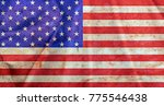 old grunge usa flag with canvas ... | Shutterstock . vector #775546438