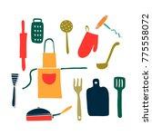 hand drawn vector set kitchen... | Shutterstock .eps vector #775558072