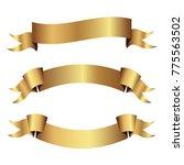 set of golden ribbons vector.    Shutterstock .eps vector #775563502