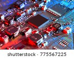 electronic circuit board close... | Shutterstock . vector #775567225