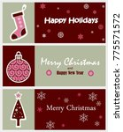 set of decorative winter cards  ... | Shutterstock .eps vector #775571572