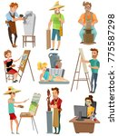 artist cartoon set with poeple...   Shutterstock . vector #775587298