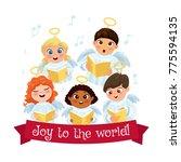 little kids in angel costumes... | Shutterstock . vector #775594135