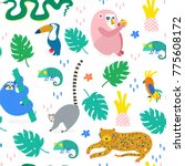 Stock vector hand drawn various jungle animals in unique trendy style colored vector seamless pattern 775608172