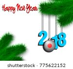 happy new year numbers 2018 and ... | Shutterstock .eps vector #775622152