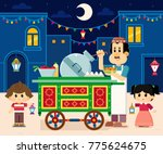 seller beside his beans cart  ... | Shutterstock .eps vector #775624675