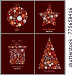 set of decorative winter cards  ... | Shutterstock .eps vector #775658416