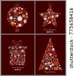 set of decorative winter cards  ... | Shutterstock .eps vector #775658416