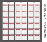 2018 2019 2020 calendar planner ... | Shutterstock .eps vector #775673122