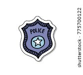 police badge doodle icon | Shutterstock .eps vector #775700122