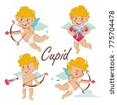Stock vector cupid set vector cupids bow cupid in different poses happy valentine s day element for graphic 775704478