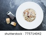 risotto with chanterelle...   Shutterstock . vector #775714042