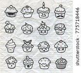 delicious cupcakes and vector... | Shutterstock .eps vector #775718446