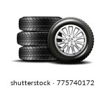 stacked car wheels. four black... | Shutterstock . vector #775740172