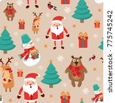 icons set christmas and new... | Shutterstock . vector #775745242