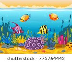 cute fish cartoon in the sea | Shutterstock . vector #775764442