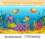 cute fish cartoon in the sea | Shutterstock . vector #775764442