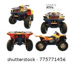 atvs on a white background. 3d... | Shutterstock . vector #775771456