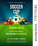 soccer cup poster. ball with... | Shutterstock .eps vector #775775182