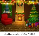 christmas fireplace with xmas... | Shutterstock .eps vector #775775326