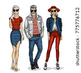 vector man and two woman models | Shutterstock .eps vector #775776712