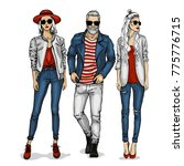 vector man and two woman models | Shutterstock .eps vector #775776715