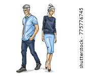 vector woman and man | Shutterstock .eps vector #775776745