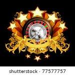 roulette insignia on black ... | Shutterstock .eps vector #77577757