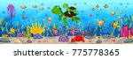cartoon turtle underwater | Shutterstock .eps vector #775778365