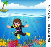 cartoon girl diving in the sea | Shutterstock .eps vector #775780798