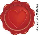 vector red wax with heart sign   Shutterstock .eps vector #77578348
