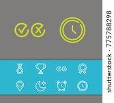 editable icons set with pin ...