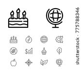 editable icons set with globe ...
