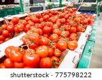 tomatoes on the counter market | Shutterstock . vector #775798222