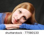 portrait of the girl on a black ... | Shutterstock . vector #77580133