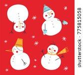 set of cute snowmen. winter... | Shutterstock .eps vector #775815058