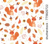 cute autumn seamless pattern.... | Shutterstock . vector #775820722