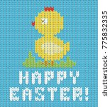 happy easter knitted chicken... | Shutterstock .eps vector #775832335