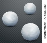 white snow ball. realistic snow ... | Shutterstock .eps vector #775833382