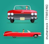 red cabriolet two angle set.... | Shutterstock .eps vector #775851982