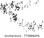 black musical notes flying... | Shutterstock .eps vector #775888696