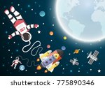 astronaut cartoon with a... | Shutterstock .eps vector #775890346