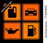 auto icon set on black... | Shutterstock .eps vector #77589892