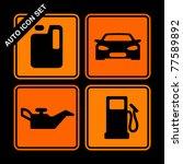 auto icon set on black... | Shutterstock .eps vector #77589892